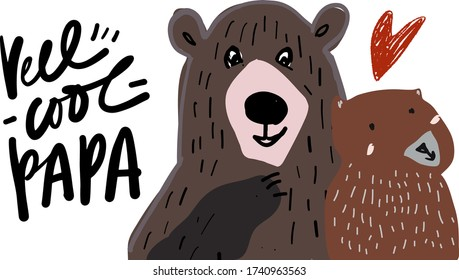 Reel cool papa. Bear. Flat illustration. Father's Day card.