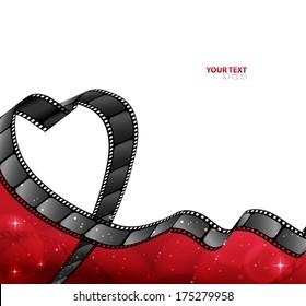 reel of film in the shape of heart