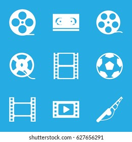 Reel icons set. set of 9 reel filled icons such as movie tape, film tape, fishing rod
