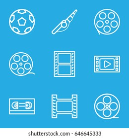 Reel icons set. set of 9 reel outline icons such as movie tape, camera tape, film tape