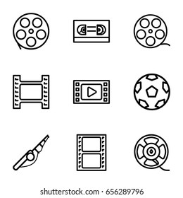Reel icons set. set of 9 reel outline icons such as movie tape, film tape, camera tape