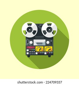 Reel to reel tape recorder icon. Flat design long shadow. Vector illustration.