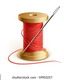 reel with thread and needle vector illustration isolated on white background