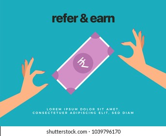 Refer and Earn Abstract Illustration of two Hands and Indian Rupee Currency Banknote. Referral Concept.