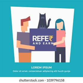 Refer and Earn Vector illustration of guy girl and cat. Friends Referral Concept.