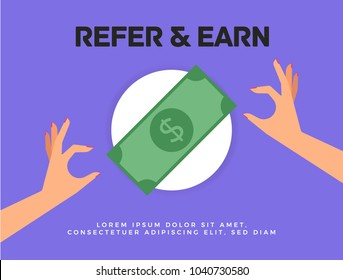 Refer and Earn Vector illustration of hands and dollar currency bill. Friends Referral Concept.