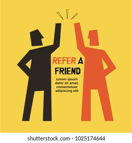 Refer a Friend abstract illustration. Two friends high five. Referral Concept.