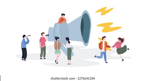 Refer a friend with big megaphone and small business people, news, social network, landing page, mobile template, teamwork, social media, vector illustration.