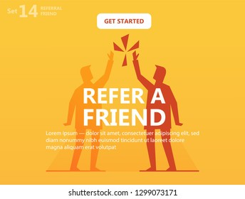Refer a Friend bright abstract illustration. Silhouettes of Two friends high five, hands above head.  Referral program Concept. Lorem ipsum template, action button. Isolated vector for web, mobile app