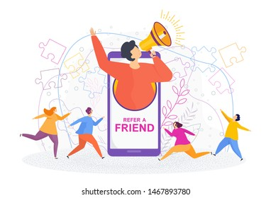 Refer a friend concept. Invitation by referral program. A man with a megaphone invites his friends to a new site. Word-of-mouth to promote services or products. Trendy flat vector style.