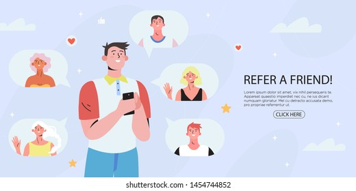 Refer a friend concept with a man holding a phone with a list of his friends profile pages. Refferal marketing strategy  banner, landing page template, ui, web, mobile app, poster, banner, flyer.
