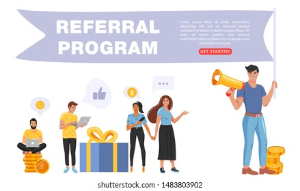 Refer a friend concept. Man holding a flag with referral program word and shouting on megaphone. People share info about referral program. Landing page template. Vector.