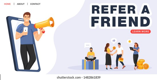 Refer a friend concept. Man with a megaphone invites his friends to referral program. People share info about referral program. Social media marketing for friends. Vector.