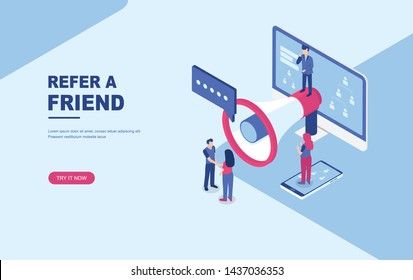 Refer a friend concept, people shout on megaphone, character handshake. Flat isometric design vector illustration