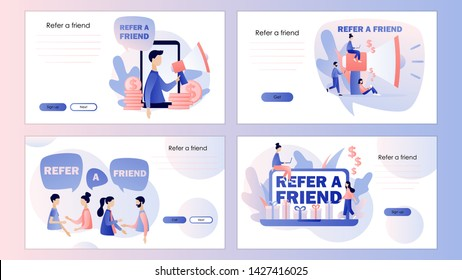Refer a friend concept. Screen template for mobile smart phone, landing page, template, ui, web, mobile app, poster, banner, flyer. Modern flat cartoon style.  Vector illustration