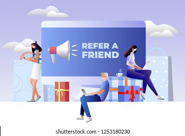 Refer a friend concept. Friend Sharing Referral Code. Vector illustration with character, landing page, template, ui, web, mobile app, poster, banner, flyer
