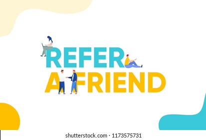 Refer a friend concept vector illustration with character hand shake, landing page, template, ui, web, mobile app, poster, banner, flyer