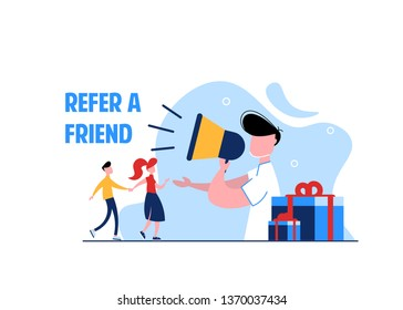 Refer a friend concept. Vector illustration of refferal program, man use megaphone with refer a friend word, use for landing page, ui, web template, mobile app, poster flyer, banner. Business flat.
