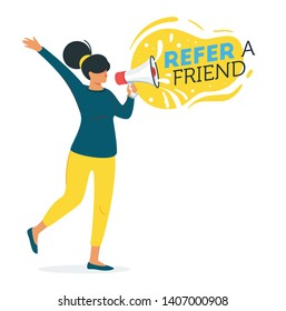 Refer a friend concept. Woman silhouette holding loudspeaker. Vector illustration isolated on white background.