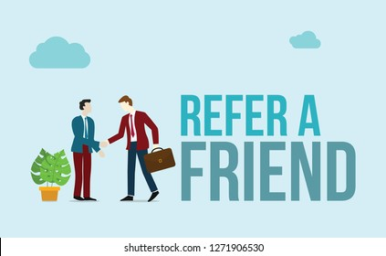 refer a friend concept with word of text and business character people handshake for agreement business - vector illustration