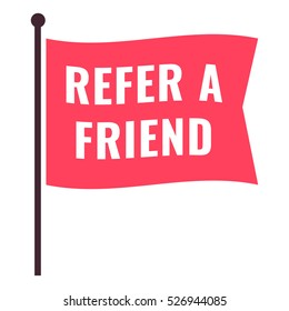 Refer a friend. Flag icon, symbol. Flat vector illustration on white background.