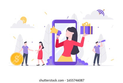 Refer a friend flat style design vector illustration isolated on white background. Woman with megaphone and gift box standin up in the smartphone and shout out to the people.