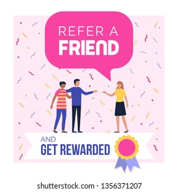 Refer a friend and get rewarded promotional program advertisement and social media post design