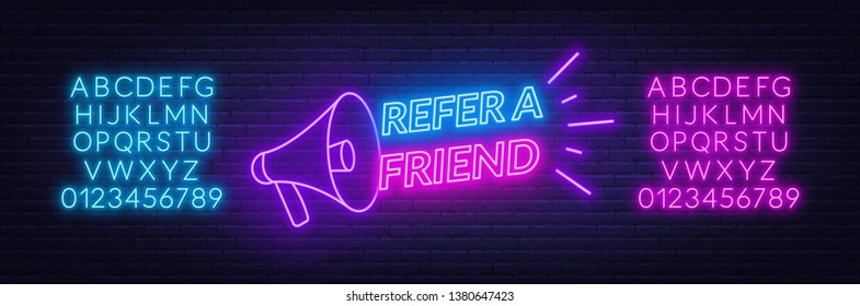 Refer a friend neon sign on brick wall background. Template for the design of the referral program.