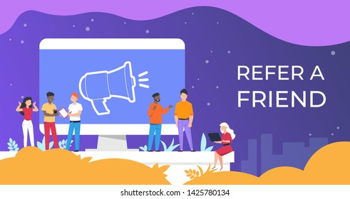 Refer a friend. People group working together on attracting audience, referral program business concept. Vector flat illustration referral friendly poster