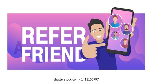Refer a friend - referral program creative banner - young man holding phone and shows to his friends (people icons, avatars) - vector illustration with bright wavy background