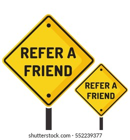 Refer a friend. Road sign icon. Flat vector illustration on white background.