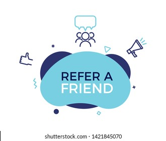 Refer a friend text on a fluid trendy shape with geometric elements. Vector design banner abstract shape concept  for referral program, affiliate marketing, online business