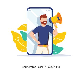 Refer a friend vector illustration concept, man shout on megaphone, can use for landing page, Digital business advertising. Social media marketing