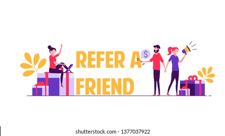 Refer a friend vector illustration concept. Group of young man and woman attracts customers for money and gifts. Referral program and social media marketing for friends.