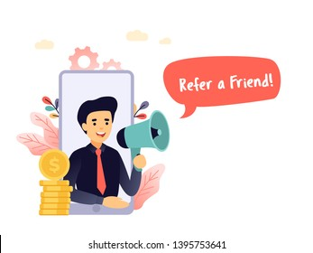 Refer a friend vector illustration concept, businessman shout on megaphone with refer a friend words, can be used for landing pages, template, ui, web, mobile app, poster banner or flyer.