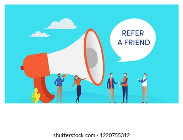 Refer a friend word concept. People vector illustration. Flat cartoon character graphic design. Landing page template,banner,flyer,poster,web page