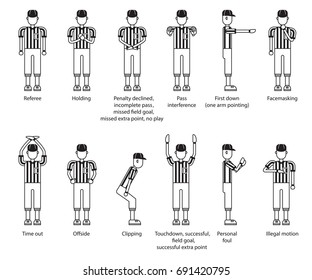 referee american football icon set. vector illustration.