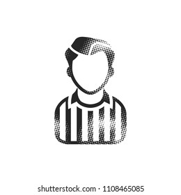 Referee avatar icon in halftone style. Black and white monochrome vector illustration.