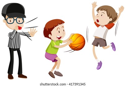 Referee and children playing basketball illustration
