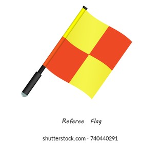 Referee flag vector. Offside flag football. lateral referee