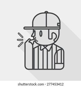 referee flat icon with long shadow, line icon