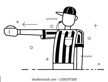 Referee Flat trendy vector Blowing Whistle and Calling First Down On Play. Vector illustration