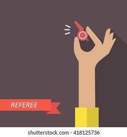 Referee hand holding a whistle. Vector illustration