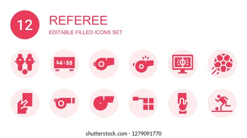 referee icon set. Collection of 12 filled referee icons included Football, Scoreboard, Whistle, Red card, Offside, Referee