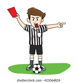 referee soccer red card man