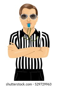 referee with sunglasses blowing whistle standing with arms folded