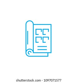 Reference book linear icon concept. Reference book line vector sign, symbol, illustration.