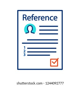 Reference letter color icon. Recommendation letter. Employment reference. Job application. Isolated vector illustration