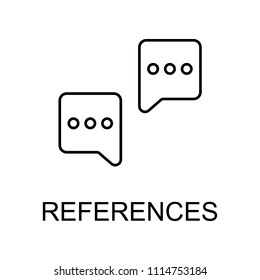 references line icon. Element of human resources signs with name for mobile concept and web apps. Thin line references line icon can be used for web and mobile on white background