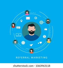 Referral marketing campaign, online promotion, digital marketing, internet advertising, referral program flat vector illustration. Affiliate marketing design for web banners and apps